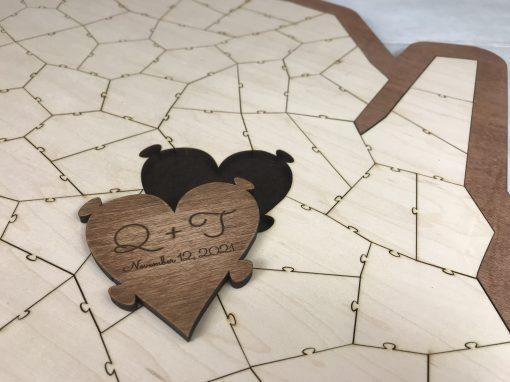 Custom Wood State Puzzle Guest Book Alternative