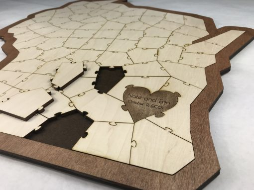 Personalized Wood State Puzzle Wedding Guest Book Alternative