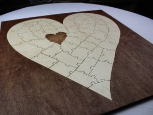 Bordered Personalized Heart Wedding Puzzle