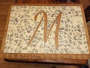 Personalized signed Letter M Puzzle Wedding Guest Book