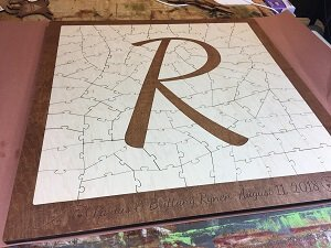 R Letter Puzzle Wedding Guest Book