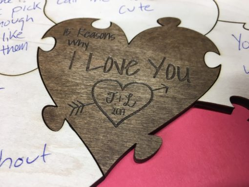 wooden etched personal heart puzzle