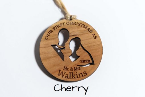 Cherry Wood Personalized First Christmas Newlywed Ornament 9x6