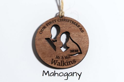 Mahogany Personalized Newlywed First Christmas Ornament