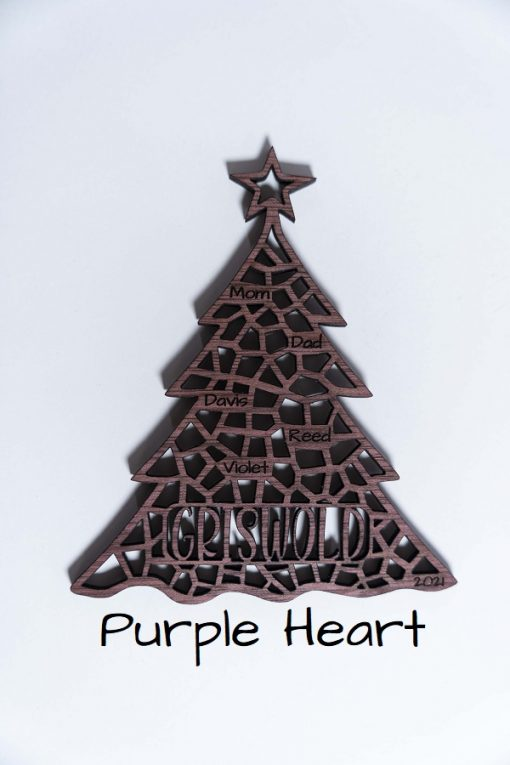 Personalized Purple Heart Wood Family Ornament